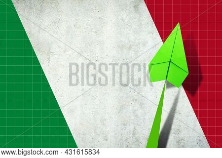 Upward Arrow On The Background Of The Flag Of Italy. Paper Plane. Economic Recovery. Copy Space. Bus