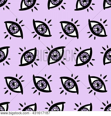 Purple Mystical, Magical Eyes Vector Seamless Pattern Background For Fortune-telling, Clairvoyance,