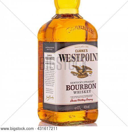 Berlin - JAN 15, 2020: Discount Westpoint Scotch Whiskey from the supermarket on store shelf in Berlin. Westpoint Bourbon is an Discounter Scotch Whiskey from the supermarket