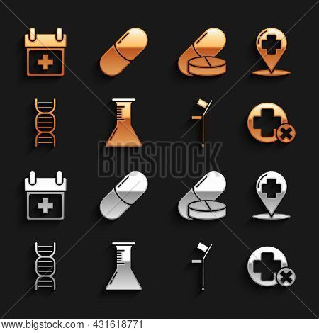 Set Test Tube And Flask, Map Pointer With Cross Hospital, Cross Medical, Crutch Or Crutches, Dna Sym