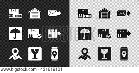 Set Cardboard Box With Free Symbol, Warehouse, Envelope, Placeholder On Map Paper, Fragile Broken Gl