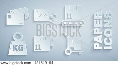 Set Cardboard Box With Traffic Symbol, Conveyor Belt Cardboard, Weight, Hand Truck And Boxes, Envelo