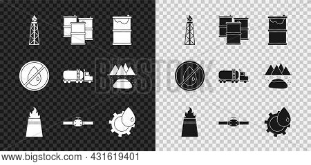 Set Oil Rig With Fire, Barrel Oil, Leak, Industry Pipes And Valve, Industrial Factory Building, No D
