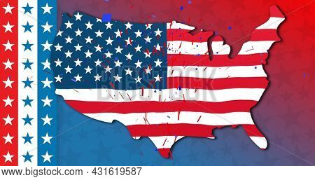 Image of a U.S. map made with U.S. flag with red and blue confetti on blue and red background. U.S.A flag independence day concept digital composition