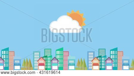 Image of sun shining and white cloud on blue sky over cityscape with colourful buildings in the background. Weather nature colour and movement concept digitally generated image.