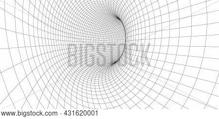 Abstract Wireframe Tunnel. Light Science Wormhole. Vector 3d Portal Grid. Futuristic Fantasy Funnel.