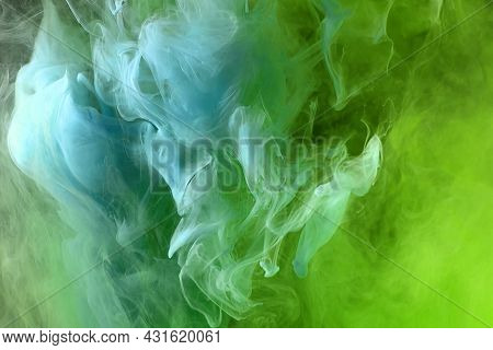 Abstract Green And Blue Color Background. Swirling Vibrant Hookah Smoke, Dynamic Paint In Water. Tex