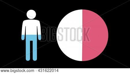 Image of male shape and pie chart filling up with blue and pink on black background 4k