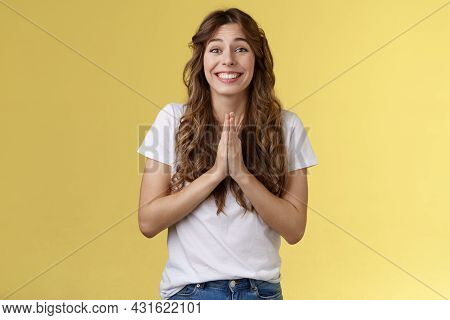 Please One Small Favor. Cute Silly Charming Young Girlfriend Asking Lend Money Press Palms Together