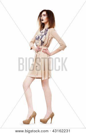 Unique. Glamour. Modish Slim Brunette In Glasses. Brown Dress & Shoes