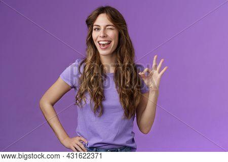 Okay Got It. Cheeky Flirty Girlfriend Winking Coquettish Show Alright Okay Ok Sign Smiling Broadly R