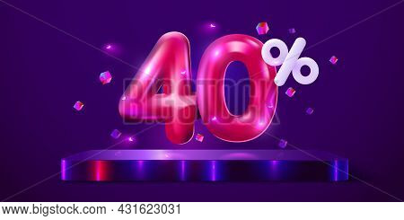40 Percent Off. Discount Creative Composition. Mega Sale Neon Banner.