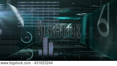 Mathematical equations floating against statistical data processing against black background. computer interface and technology concept