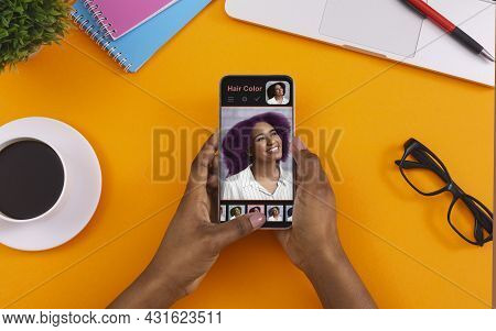 Software For Hair Creation. Black Woman Using Hair Simulation App