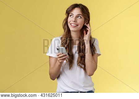 Dreamy Happy Cheerful Curly-haired Girl Look Around Contemplate Beautiful Summer Weather Listening M