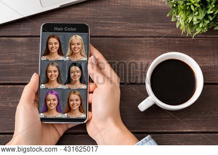 Mobile Software For Hair Creation. Woman Using Hair Simulation App