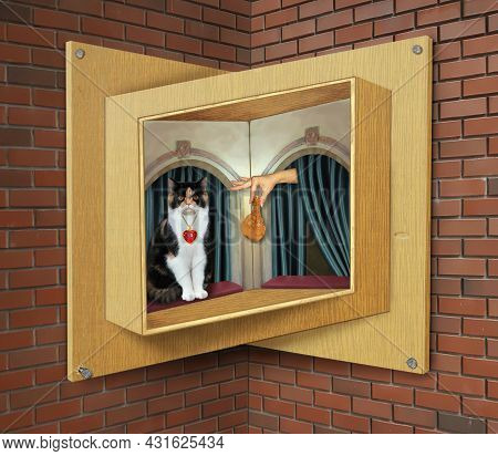 A Colored Cat Eats A Chicken Leg On A Sill Of A Wooden Impossible Window.