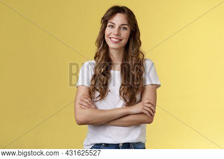 Confident Carefree Lively Smiling Female Freelancer Professional Cross Arms Chest Self-assured Pose