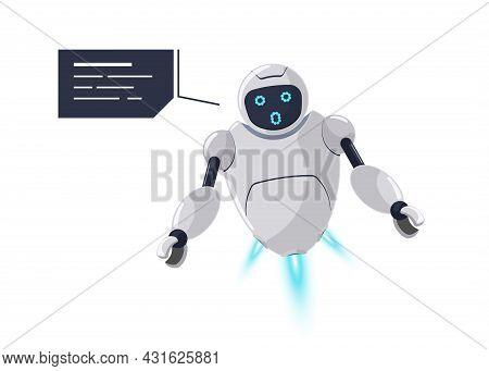 Cute Friendly Robot Character Surprise Emotion. Futuristic White Chatbot Mascot Surprises Unexpected