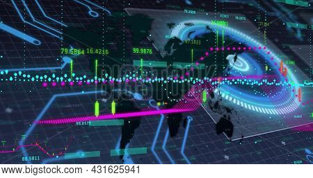 Image of scope scanning and data processing on screens over grid. global connections, technology and digital interface concept digitally generated image.