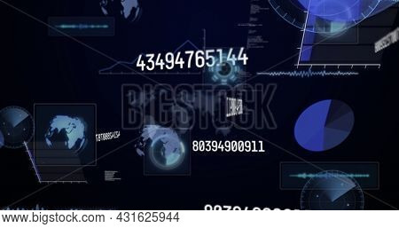 Image of numbers changing and data processing on screens over world map. global connections, technology and digital interface concept digitally generated image.