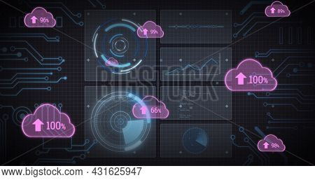 Image of pink clouds with arrows and percent, scopes scanning and data processing on screens. global connections, technology and digital interface concept digitally generated image.