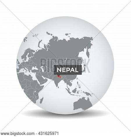 World Globe Map With The Identication Of Nepal. Map Of Nepal. Nepal On Grey Political 3d Globe. Asia