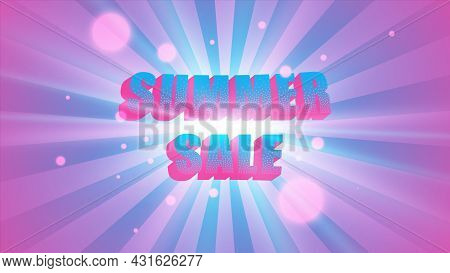 Summer Sale Banner, Sunbeams Background, Abstract Vector Explosion