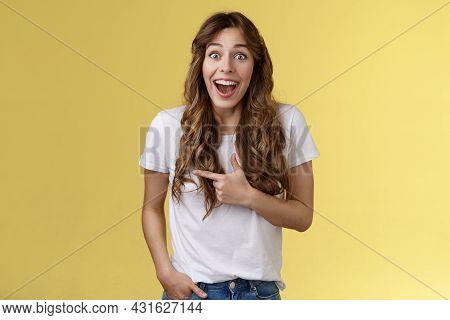 Joyful Charismatic Woman Having Fun Chatting Friend Have Funny Amusing Conversation Discuss Comedy M