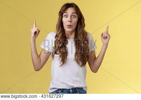 Impressed Enthusiastic Surprised Ambushed Cute Female Model Fold Lips Wow Admiration Joy Stare Camer