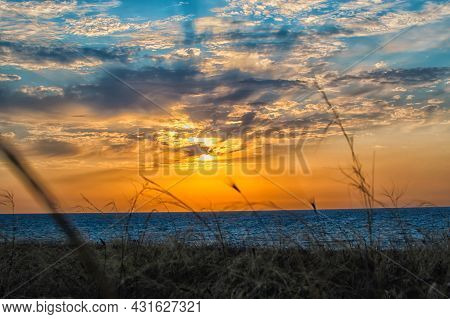 A Beautiful Sunset With A View Of The Seas And Mountains. Crimean Landscape, Village Mezhvodnoe. Ste