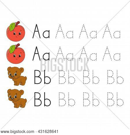 Trace Letters. Writing Practice. Tracing Worksheet For Kids. Learn Alphabet. Cute Character. Vector