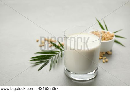 Vegan Milk And Pine Nuts On Light Table, Closeup. Space For Text