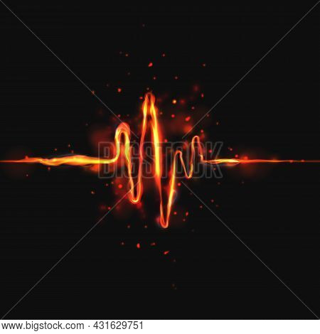 Heart Beat 3d Wave On Dark Background. Abstract Heartbeat Or Cardiogram In Form Of Fire With Sparks.