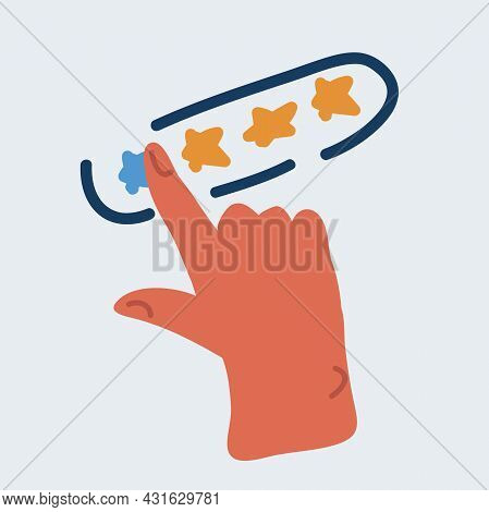 Vector Illustration Of Customer Review Concepts. Hand Choosing Positive Review. Stars Rate