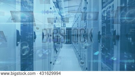 Image of scope scanning and data processing on screens over computer servers. global connections, technology and digital interface concept digitally generated image.