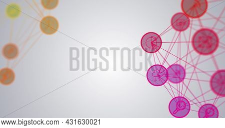 Image of networks of connections, scopes scanning and data processing on screens. global connections, technology and digital interface concept digitally generated image.