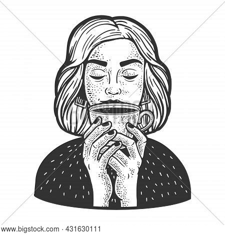 Girl Smelling Cup Of Coffee Sketch Engraving Vector Illustration. T-shirt Apparel Print Design. Scra