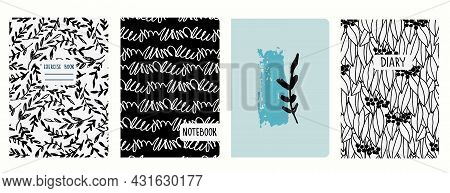 Cover Page Templates Based On Patterns With Branches And Wavy Zigzag Lines. Headers Isolated, Replac