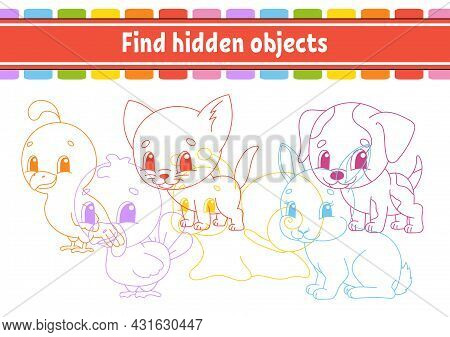 Find Hidden Object. Education Developing Worksheet. Activity Page With Pictures. Color Contour. Logi