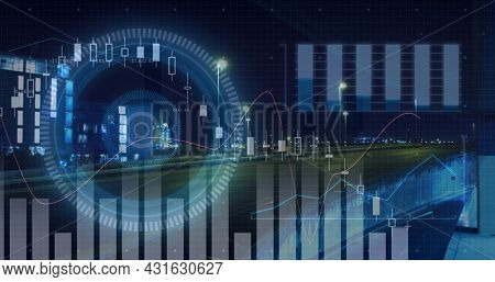 Image of scopes scanning and data processing over road traffic and cityscape at night. global connections, technology and digital interface concept digitally generated image.
