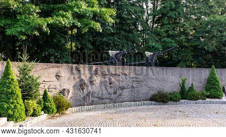 Wegierska Gorka, Poland, 08.07.2021. Stone Relief Showing Ii World War Soldiers And Battle Next To W
