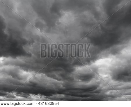 Majestic Gray Clouds Over The Horizon, Without Birds.