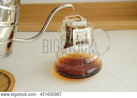 Drip Bag Coffee Brewing Process. Easy Simple Brew Method, New Trend. Specialty Aesthetics