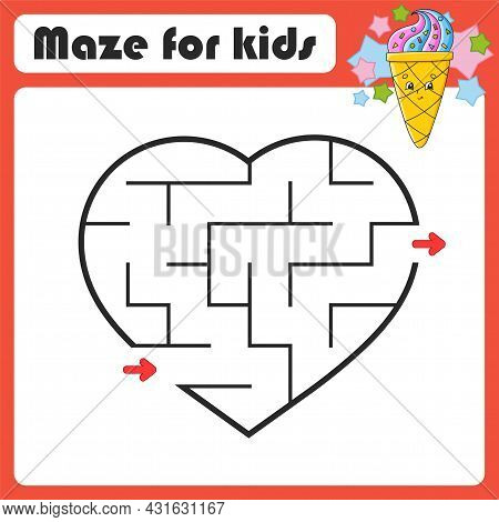 Abstract Maze. Game For Kids. Puzzle For Children. Coon Style. Labyrinth Conundrum. Color Vector Ill
