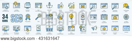 Set Of Line Icons Of Seo - Search Engine Optimization. Thin Line Web Icon Collection. Simple Vector