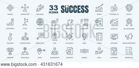 Simple Set Of Success, Goals And Target Related Vector Line Icons. Contains Thin Icons As Achievemen