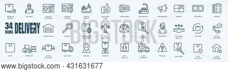 Right Size Adobeeditable Line Icons Of Cargo Delivery. Vector Illustration Included Icon As Courier