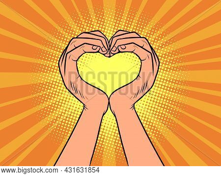 Hands Love Heart Gesture. Romance And Relationships. Valentines Day
