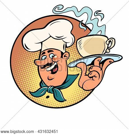 A Cup Of Hot Coffee In The Hands Of The Cook. Waiter In The Cafeteria And Restaurant